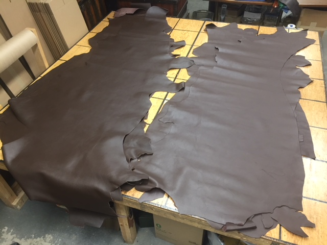 dark brown thick leather hides for sale