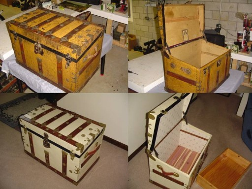Beautiful refinished antique travel trunks