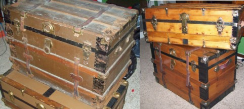 Refinished antique trunk