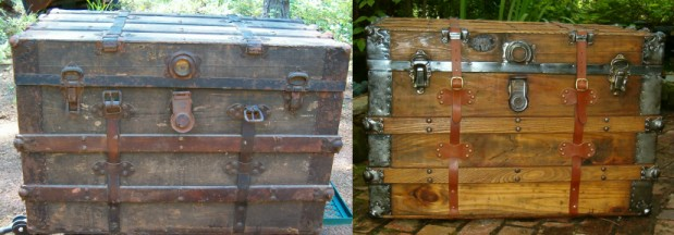 Refinished antique trunk with leather straps