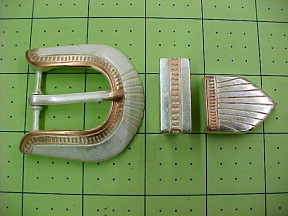 Belt buckle set with keeper and tip for sale