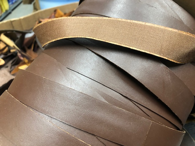 brown leather ribbon one inch wide on spools
