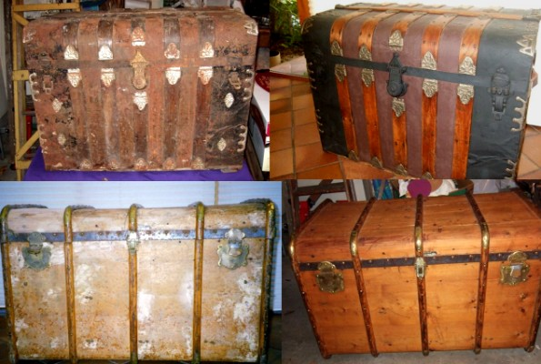 Antique trunk refinishing, before and after