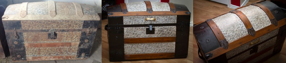 Refinished dome topped steamer trunk