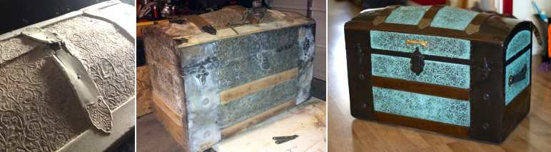 stripping paint off an antique trunk