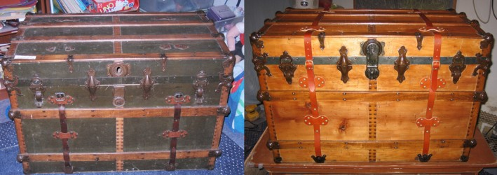 Beautiful refinished antique trunk