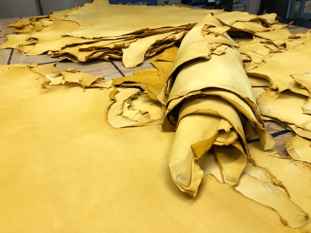Natural looking leather hides on sale