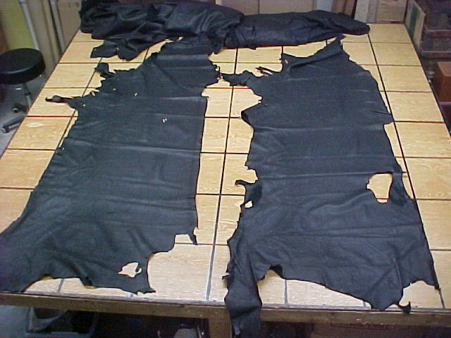 rustic brown and black bison leather hides for sale