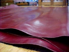 Smooth burgundy Leather Hides for sale
