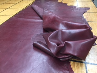 mellow dark red leather hides for sale
