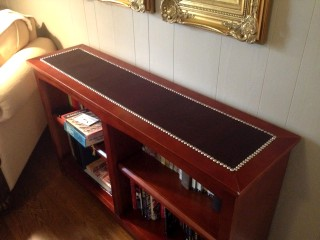 Book case covered with leather