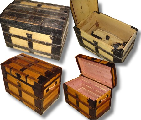 many styles of refinished trunks