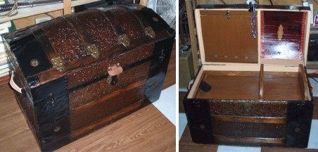 Refinished antique dome topped  or caamel back trunk