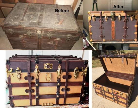 100% Quality Old Steamer Trunk Antique Furniture Antiques