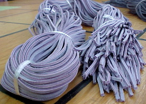Leather boot laces, 6 feet long, lavender