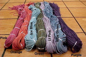 Leather boot laces, 6 feet long, bright colors