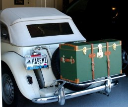 Refinished antique automobile trunk