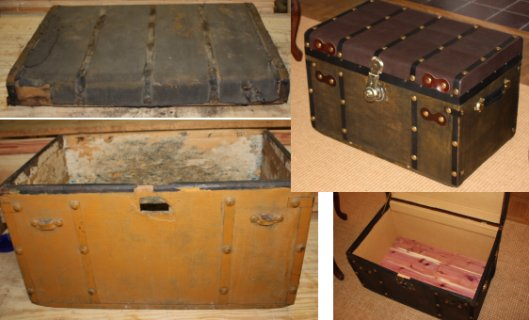 Refinished antique brass button trunk