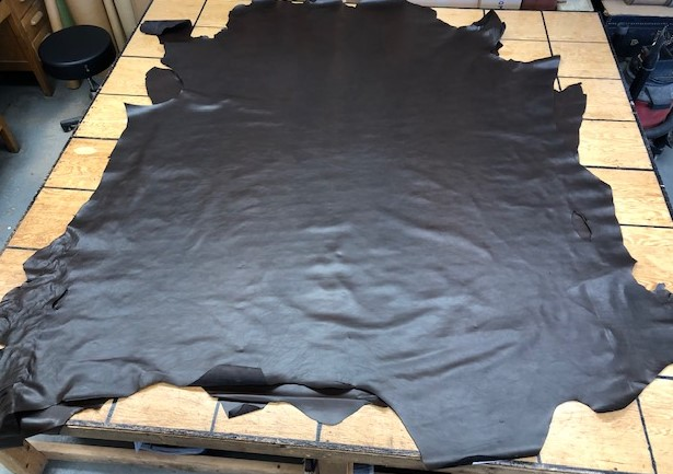 dark chocolate brown whole leather hides on sale