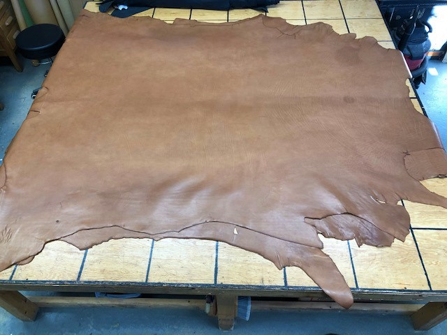 camel tan whole leather hides on sale