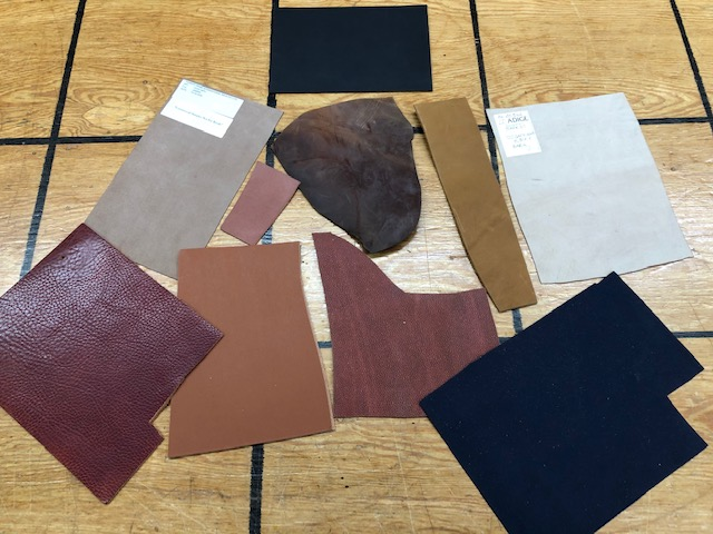 assorted colors of leather pieces for sale by the pound