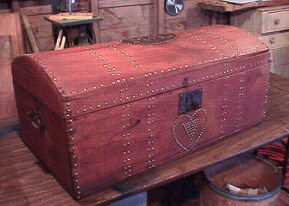 Hide covered trunk refinished by Brettuns Village