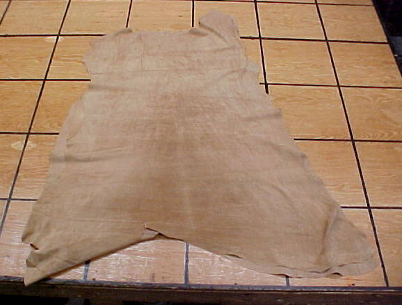 very thin buckskin tan pig skin leather hides for sale