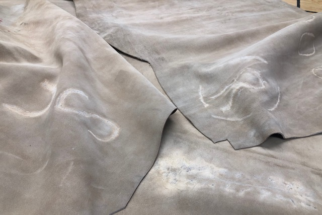 tan textured suede heavy  leather hides for sale