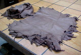 very thin taupe lamb skin leather hides for sale