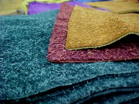 Very soft shaggy suede leather hides