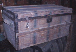 Paper covered antique trunk