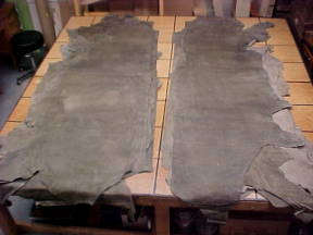 olive green leather hides for sale