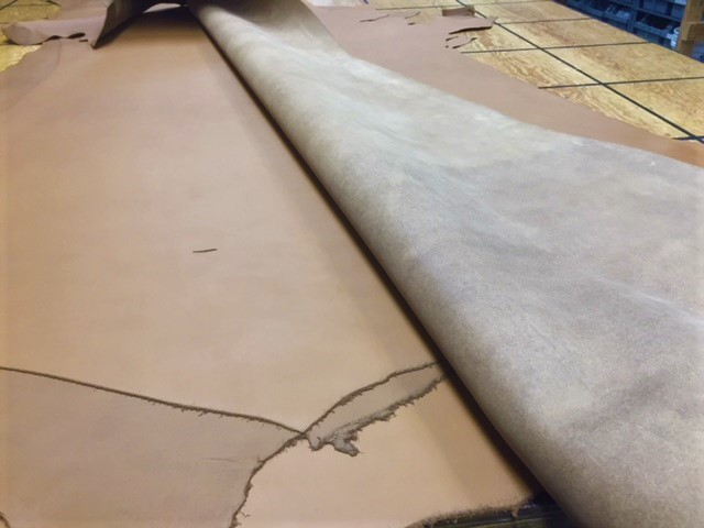 smooth brown leather hides for sale