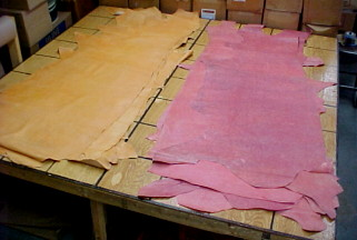 pink leather hides for sale