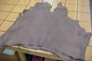 Chocolate brown leather hides