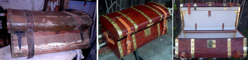 Brass banded Refinished antique trunk