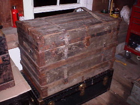canvas covered trunk from the 1880s