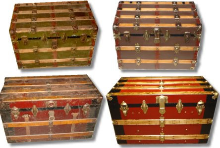 Refinished antique trunks from back east