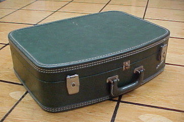 vintage green tweed suitcase for sale