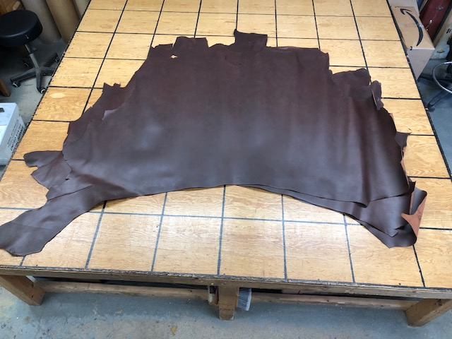 smooth dark brown leather hides on sale