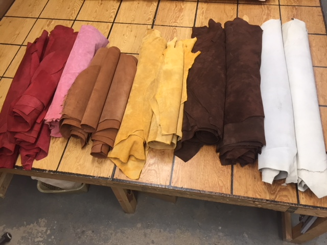 colorful suede leather hides for sale