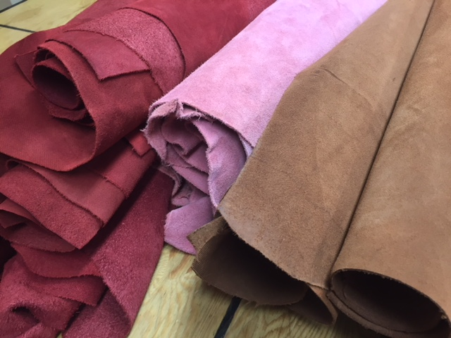 many colors of suede leather hides for sale