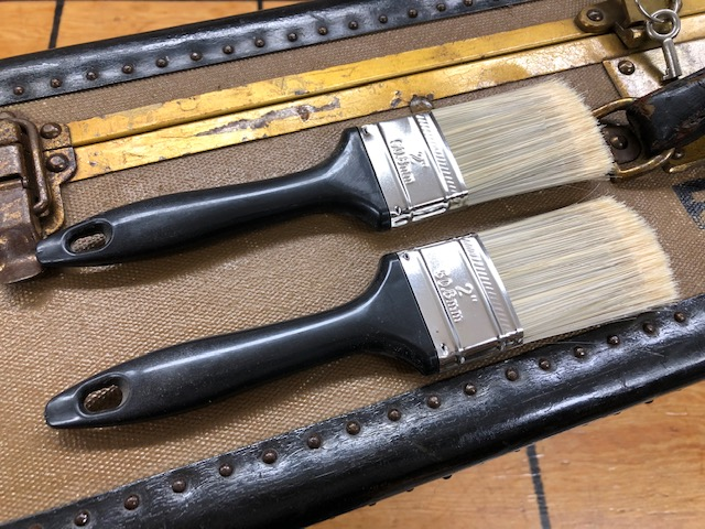 Antique trunk tools - stain brushes