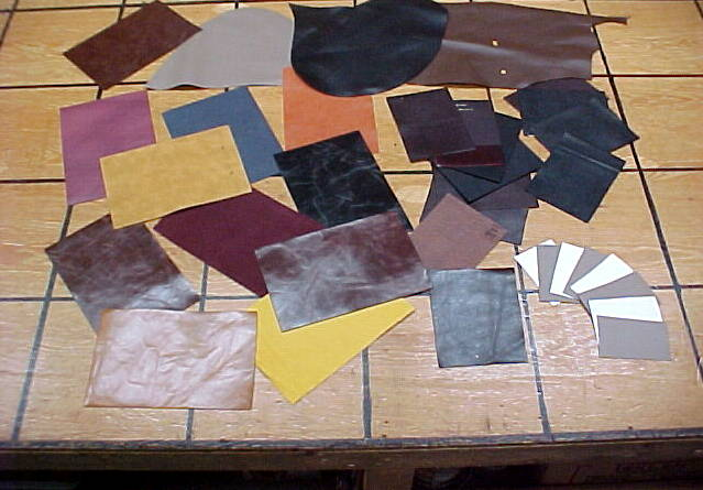 Leather panels, sample swatches for sale