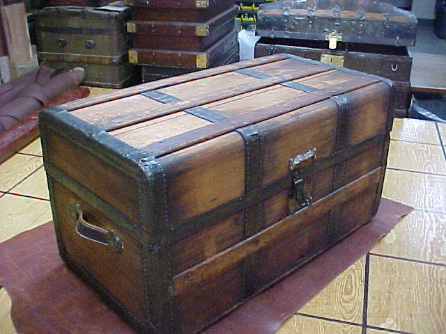 antique late 1800s wooden steamer trunk for sale