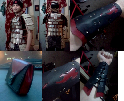 Images of leather armor made by hand