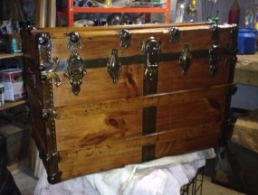 how to refinish an antique steamer trunk