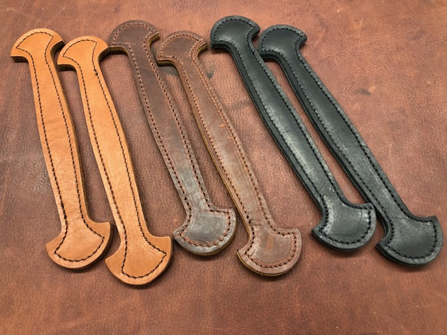 trunk handles, stitched leather