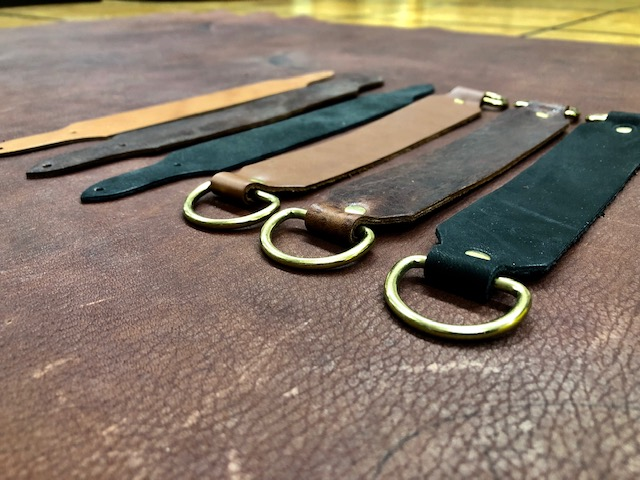 Leather strap handle for cases