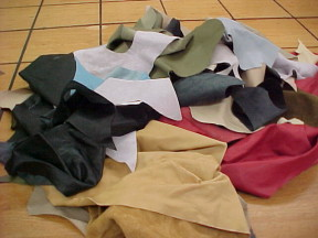 Upholstery leather scrap pieces